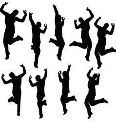 man silhouette in joyful pose vector image