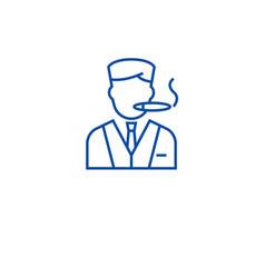 man smoking cigar line icon concept man smoking vector image