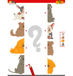 Match halves of dog pictures educational game vector