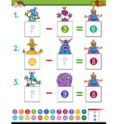 Maths subtraction game with monster characters vector