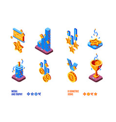 medal and trophy competition isometric icons set vector image
