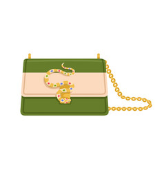 Modern fashion flap bag with snake buckle jewels vector