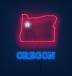 Neon map state of oregon on dark background vector