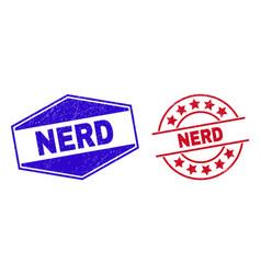 Nerd unclean stamp seals in circle and hexagon vector