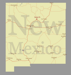 New mexico detailed exact detailed state map vector