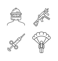 Online game inventory linear icons set esports vector