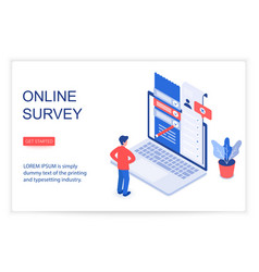 online survey isometric landing page vector image