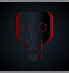 Paper cut skull icon isolated on black background vector