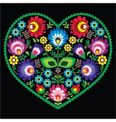 Polish folk art art heart with flowers - Wycinanki vector image