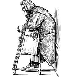 Poor old woman vector