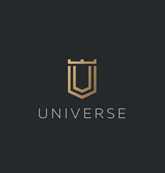 Premium monogram letter u v initials logotype vector