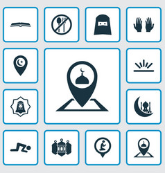 Religion icons set collection of location prayer vector