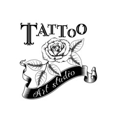 Retro style emblem tattoo studio sign vector
