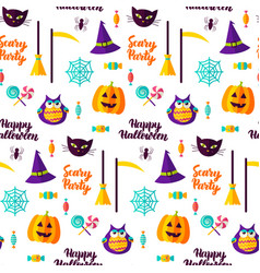 scary halloween party seamless pattern vector image