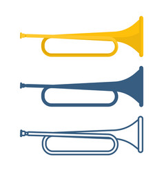 set bugles different colors on vector image