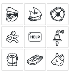 Set of Shipwreck Icons Captain Ship vector