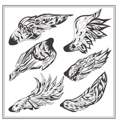 Set of wings in vintage style vector image