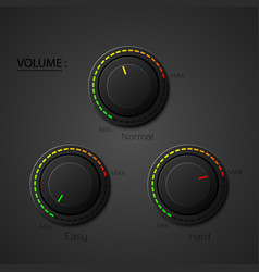 Set realistic music button volume knob with vector