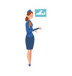smiling stewardess character wearing blue uniform vector image