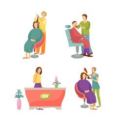 spa salon barber for man hairdresser set vector image