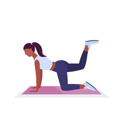 sporty woman doing fitness exercises on yoga mat vector image