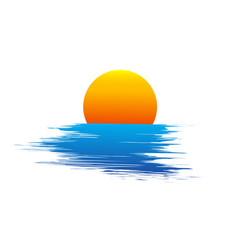 sun and blue sea waves vector image