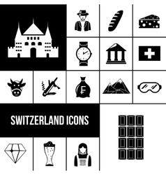 Switzerland black icons set vector