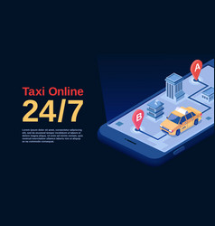 taxi online advertising poster vector image