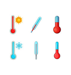 thermometer icon set cartoon style vector image