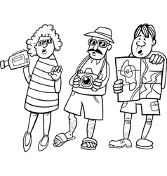 tourist group cartoon vector image