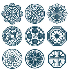 Traditional korean symbols korea pattern vector