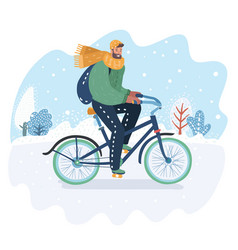 winter landscape with bicycle rider vector image