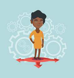 young african-american woman choosing career way vector image