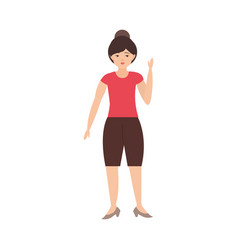Young woman with bun hair standing character vector