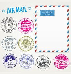 air mail stamps and envelope vector image
