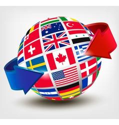 Flags of the world on a globe with an arrow vector