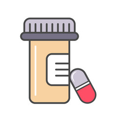 medical tablet container linear icon vector image