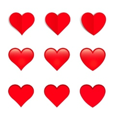 Red Hearts Isolated On White Background vector image vector image