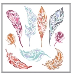 Set feathers different colors vector image