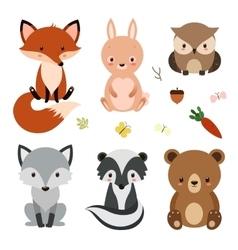 Set of cute woodland animals isolated on white vector image