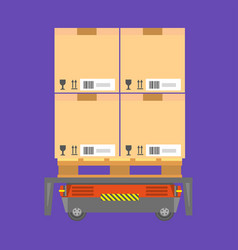 Cardboard boxes loaded on special cart for vector