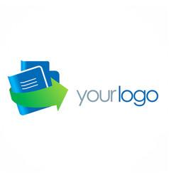 document book arrow company logo vector image