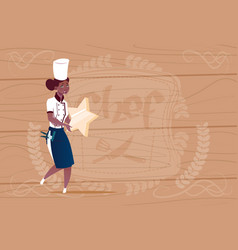female african american cook holding star best vector image