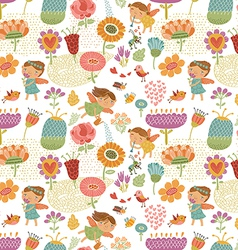 Floral pattern with fairies white vector image