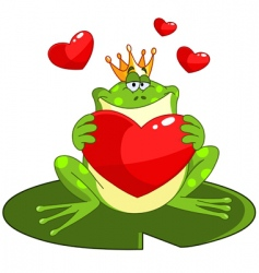 Frog prince with heart vector