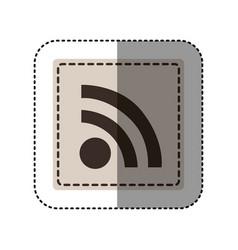 sticker monochrome square with wifi icon vector image