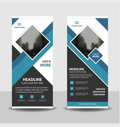 blue square business roll up banner flat design vector image vector image