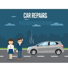 Car repairs concept with people vector image