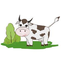 cartoon cow on a meadow vector image vector image