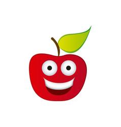 color red kawaii fruit apple happy icon vector image vector image